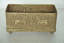 Old Brass Handcrafted Lion , Horse & Flowers Fine Engraved Rectangular Box