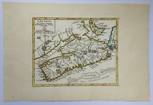 CANADA ACADIA 1749 ROBERT DE VAUGONDY ANTIQUE ENGRAVED MAP XVIIIe CENTURY