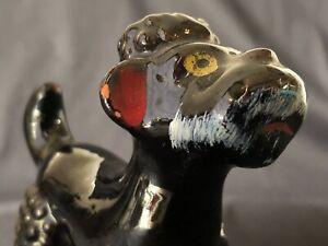 Vintage (1950's) Black / Very Dark Brown Hand Painted Poodle Figurine (Japan)