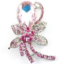 Ornate Wedding Bridal Brooch Pin Pink Elegant Austrian Rhinestone Crystal