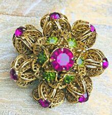 Vintage Gold Tone Crystal Flower Brooch Pin BOLD Lattice Detail AMAZING