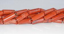 "23X9MM BRECCIATED JASPER GEMSTONE BROWN RED ROUND TUBE LOOSE BEADS 8"""