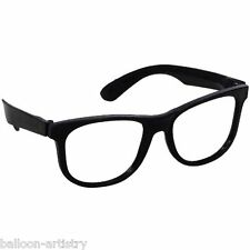 1950's Rock Roll 10 x Plastic Glasses Thick Black Frame Geek Party Pack Costume