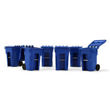 2017 FIRST GEAR 1:34 *SET of 6* BLUE COLORED Trash Garbage Can Containers *NIB*