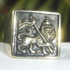 Men's Lion Of Judah Ring Heavy Bronze Flag of Ethiopia Rasta Jewelry of jamaica