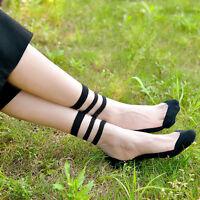 Ultradünn transparent Socken Seidenfaden kurz Socken mit Schwarz Streifen