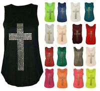 Ladies Sleeveless Gothic Stud Cross Racer Back Stretch CasualT Shirt Vest Top MH