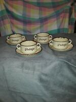 Vintage Soup Bowls,Chili,With Saucers. Made in Japan