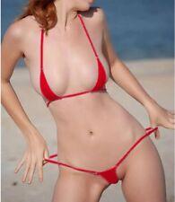2be3203504b9b extreme transparent see through Micro Bikini swimwear RED