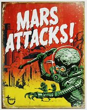 Mars Attacks Tin Metal Sign Topps Comic Book Movie Poster Aliens B005