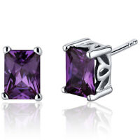 2.5 CT Radiant Color Changing Alexandrite Sterling Silver Stud Earrings