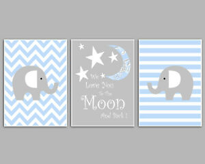 3 Wall Art Nursery Prints Love You To The Moon And Back Blue & Grey Baby Boy