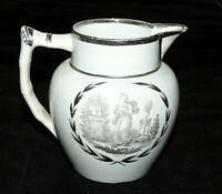 Antique Pearlware Silver Luster Faith Pitcher Jug English Pottery c.1820