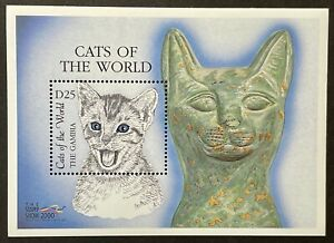 GAMBIA CATS OF THE WORLD STAMPS SOUVENIR SHEET STAMP SHOW 2000 MNH FELINE KITTEN