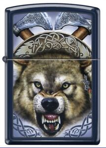 """Zippo by Mazzi """"FEROCIOUS WOLF"""" Printed Lighter on Blue Matte finish, New In Box"""