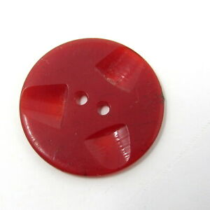 """Red Button Plastic 2 Holes 1"""" Vintage 3 Scoops Jacket Sweater Costume Shawl"""