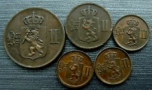 NORWAY 5 X COINS 1876