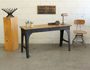 "Vtg Antique Industrial 56"" Console Table Desk Brass Wood Cast Iron Legs 1910s"