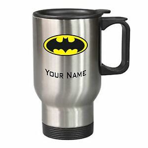 Batman Travel Mug Coffee Cup Gift Idea Present Dark Knight PERSONALISED