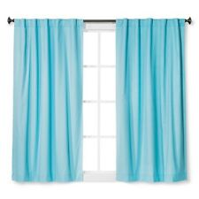 "Pillowfort 63"" 42"" Twill Blackout Curtain Panel Baby Blue Cotton Blend"