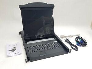 "New RPC-001 19"" LCD Drawer KVM Switch Console 1U PS2 USB VGA 115Vac Rackmount"