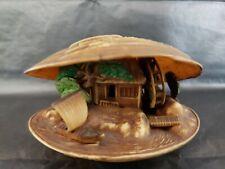 Japanese Village Inside Seashell Waterwheel Works Sailboat Is Sailing Marked
