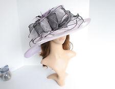 "Church Kentucky Derby Wedding Organza 5~8"" Wide Brim Lavender hat 5-01"