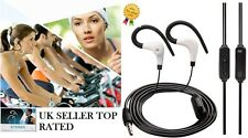 BLACK OVER EAR CLIP CUFFIE GANCIO Sport Palestra Jogging Running EARPHONE CON MICROFONO