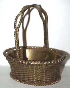 Vintage Brass Basket Weave Tray MOTTAHEDEH DESIGN Made in India Woven Oval Brass