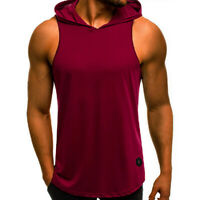 Men Gym Sleeveless Top Vest Hoodie Bodybuilding Tank Top Muscle Hooded Shirt UK