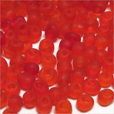Perles de Rocailles en verre Transparent Givré 4mm Rouge 20g (6/0)