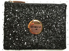Mimco Sparks Fly Black Rose Gold Glitter pouch clutch evening bag Authentic med