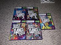 Just Dance 3/4/2014/2015/Kids 2014 Microsoft Xbox 360 Kinect Lot Bundle