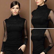 da donna manica lunga collo alto Cardigan chiffon maglia nero Bling maglione
