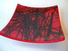 BENT ART GLASS DISH RED AND BLACK