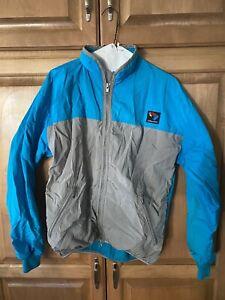 Vintage 1990s Bellwether Silver/Teal Windbreaker Fleece Cycling Jacket Size M