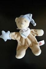 U13- DOUDOU PELUCHE  BABY FEHN OURS BEIGE BONNET ETOILE BLEU grelot - TBE rare