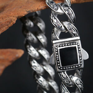 New Amazing Vintage Stainless Steel Rose flower Chain Bracelet Black Stone Clasp
