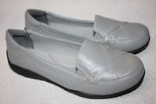 Dr Scholls Womens Leather Loafers Shoes Double Air-Pillo Insoles Gray 6.5  Wide 379c271387e