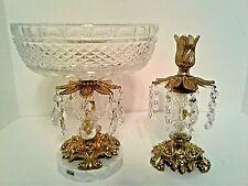 Austrian Crystal Compote & Candle Stick Italian Marble Center Piece Oberglas