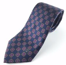 ALFRED DUNHILL Vintage 100% Silk Navy Purple Geometric Tie (Made in Italy)