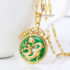 Gold Plated Malaysian Jade Chinese Dragon Pendant Necklace Ruby Jewelry Gift