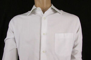 Hugo Boss White Button Down Dress Shirt Long Sleeves Classic Size L 16 34-35