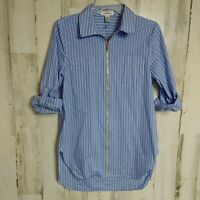 Calvin Klein Womens Small Tunic Top Zip Front Long Roll Tab Sleeves Blue Striped