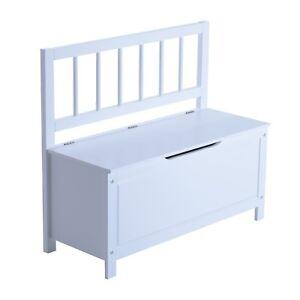White Hallway Storage Bench Wooden Seat Shoe Cabinet Lid Chest Toy Box Organizer