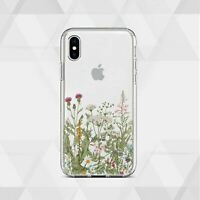 Wild Flowers Floral iPhone XS Max XR XS X 7 8 Plus 6 6s Cover Case Skin Clear