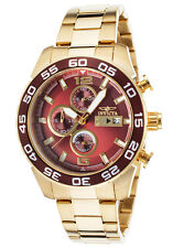 Invicta 13676 Specialty Gold Tone Stainless Bracelet Brown Dial Mens Watch New