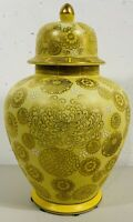 Vintage Toyo Japan Yellow Lidded Vase Ginger Jar Hand Painted w/ Label Gold