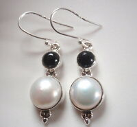 Cultured Freshwater Pearl and Black Onyx 925 Sterling Silver Dangle Earrings