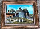 "Vintage 22"" Framed H Hargrove RARE Round Blue Brick Barn Farm Lithograph Print"